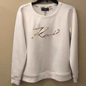 Karl Lagerfeld womens white crewneck signature top